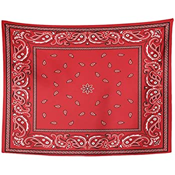 Emvency Tapestry Black Border Red Bandana Colorful Paisley Bandanna Home Decor Wall Hanging for Living Room Bedroom Dorm 60x80 inches