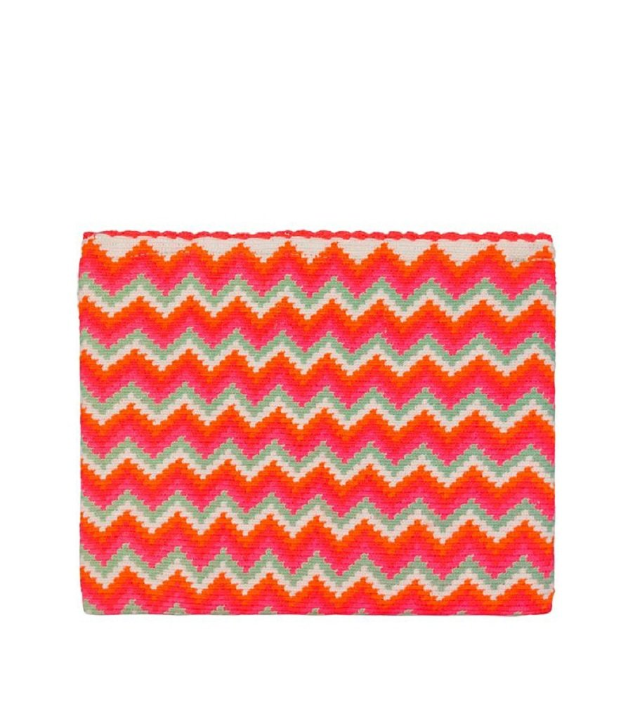Sophie Anderson Lia Pink Chevron Striped Cotton Clutch