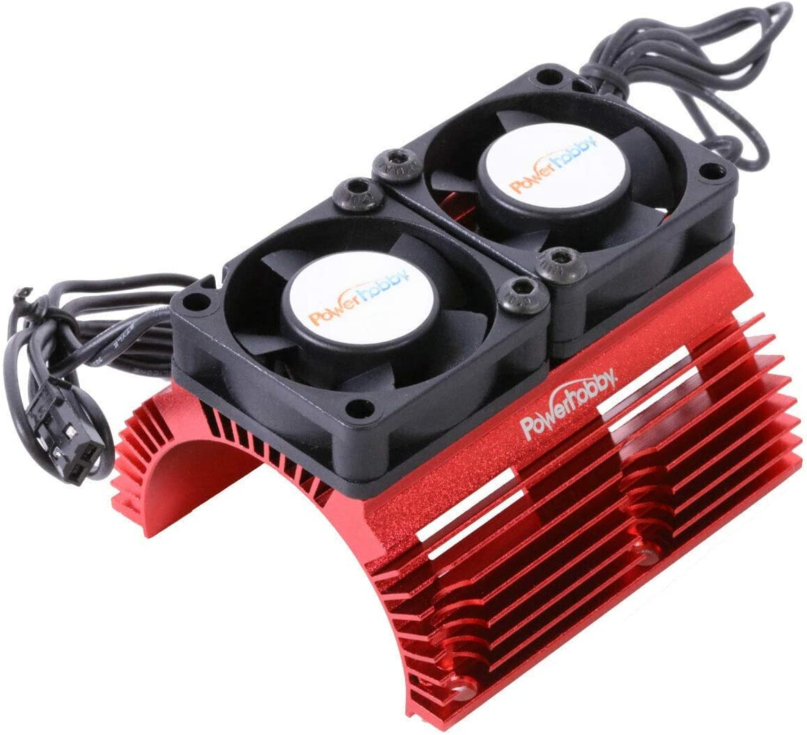 Powerhobby Aluminum Heat Sink with Twin Turbo High Speed Fans Sets for 1:8 Motors with Around 40.8mm Diameter (Red)