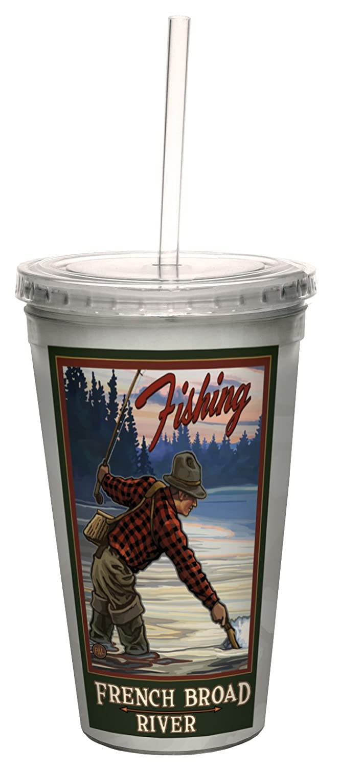 Tree-Free Greetings cc33367 Vintage Asheville North Carolina River Fishing by Paul A 16-Ounce Lanquist Artful Traveler Double-Walled Cool Cup with Straw