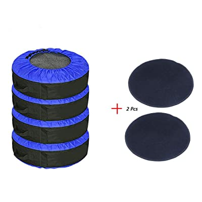 """J&C 4 Pcs 30INCH Blue Tire CoverTire Cover +2 Pcs Wheel Felts Durable Spare Tire Protection Tote Covers Seasonal Tire Storage Bag for Car SUV 17-30"""" Tires: Automotive"""