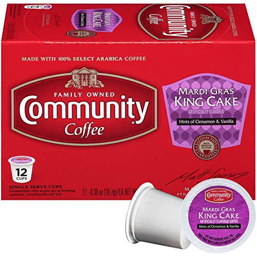 Community Coffee Mardi Gras King Cake Box of 12 K-cups Limited Time!