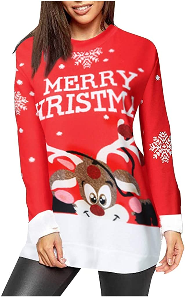 sheart 9 Women Ugly Christmas Sweatshirt Elk Snowflake Print Long Sleeve Pullover Tunic Round NeckT-Shirt Tops