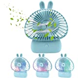 TekHome Desk Fan with USB, 7-Color Lights, Mini Hand Fan Battery Powered for Travel Outdoor, Small Portable 120mm Silent Electric Fan for Girls, Office Desk Accessories, 1200mAh, 3 Speed, Blue.