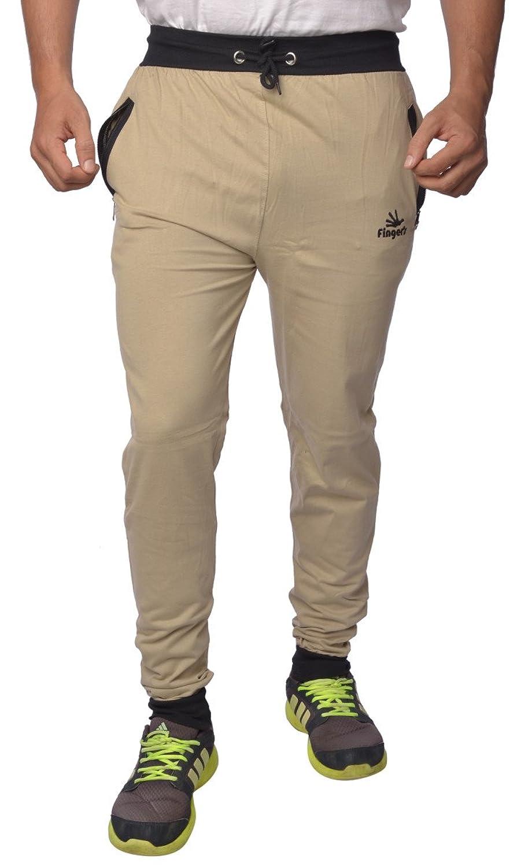 Finger's Men's Cotton Track Pants with Zipper Pockets