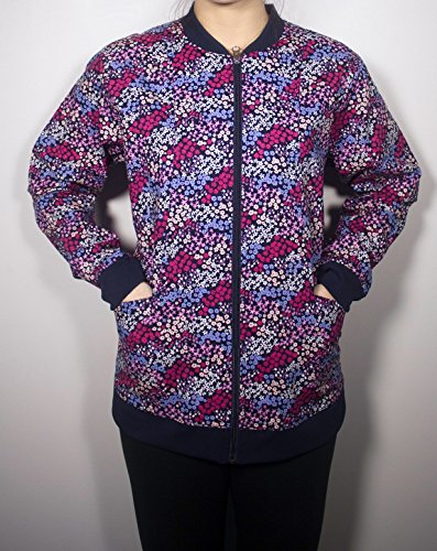 Maevn Uniforms Women's Zip Front Floral Print Scrub Jacket Large Print
