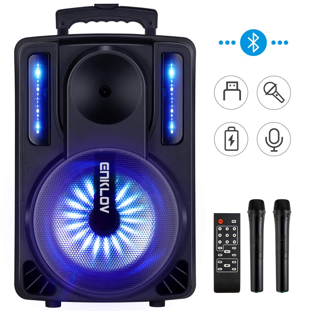Karaoke Machine, ENKLOV Portable Wireless Karaoke Bluetooth Speaker System, 2 Microphones Sing Karaoke Machine for Kids & Adults, Work with MP3 USB Micro SD FM Radio in AUX Wheel, Light Sync to Music