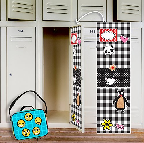 BirthdayExpress Black and White Plaid Check School Supplies Locker Decal Decoration