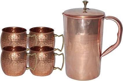 Taza de cobre Rudra Handicraft ® para Moscow Mule Juego de 4 ...