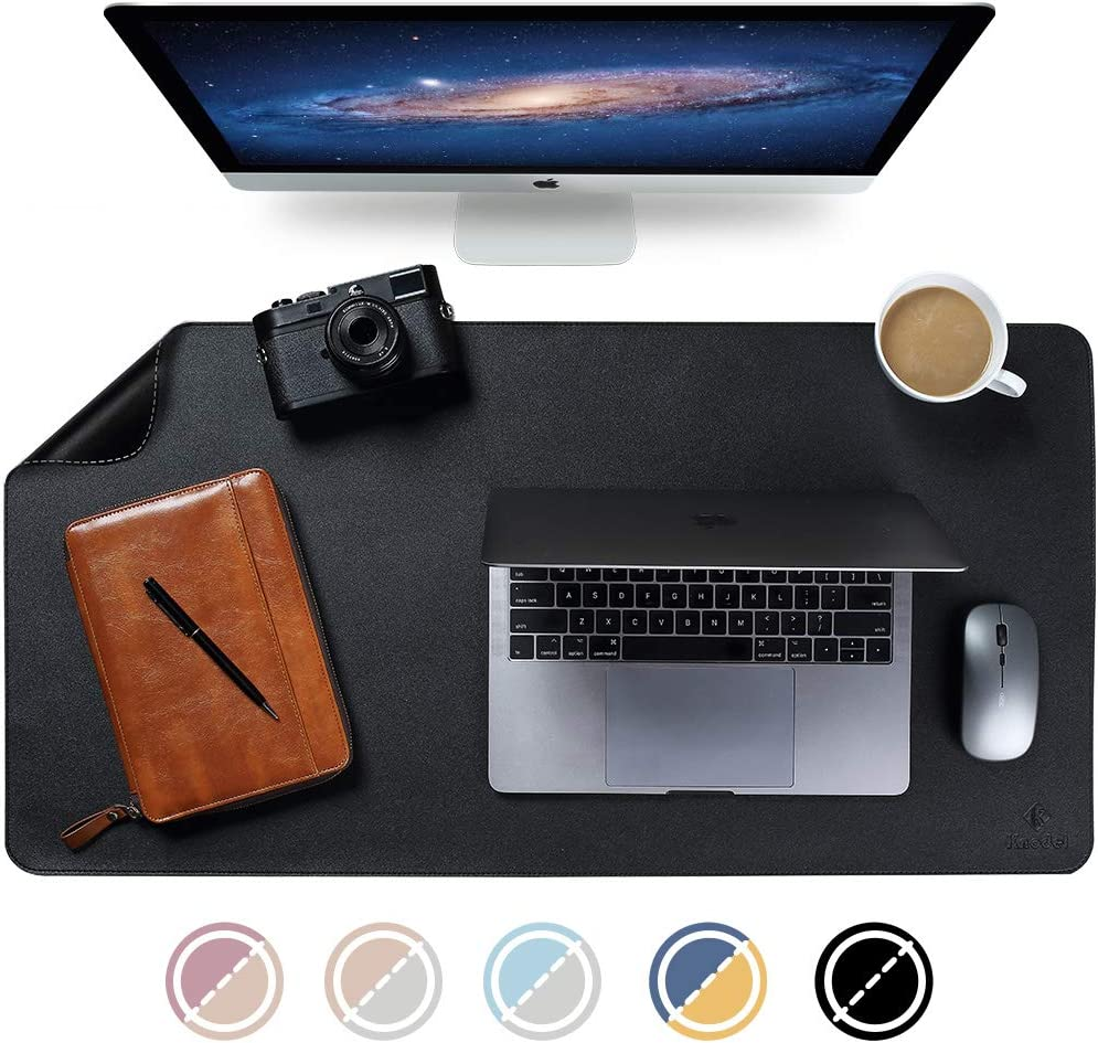 "Knodel Dual-Sided Desk Mat, New Design Desk Pad, Upgrade Sewing PU Leather Desk Blotter Protector, Mouse Pad, Writing Mat for Office and Home (35.4"" x 17"", Black)"