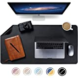 "Knodel Dual-Sided Desk Mat, 35.4"" x 17"" Desk Pad, Upgrade Sewing PU Leather Desk Blotter Protector, Mouse Pad, Writing Mat for Office and Home (Black)"