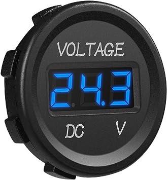 KIMISS Motorcycle LED Voltmeter,Round Waterproof Motorcycle LED Digital Voltage Meter Tester Monitor Display Voltmeter 12V