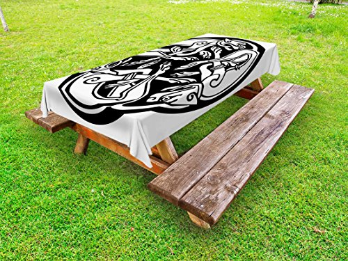 Lunarable Celtic Outdoor Tablecloth, Three Dogs Biting Their Tails Animal Forms Vikings Heritage Celtic Knots Medallion, Decorative Washable Picnic Table Cloth, 58 X 84 Inches, Black White