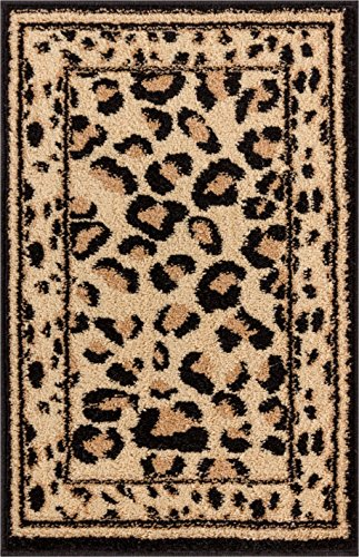 Jungle Fun Leopard Animal Print Modern Contemporary Geometric Beige Brown Ivory Kitchen Bathroom Entryway Ultra Value Doormat 2x3 (1'8