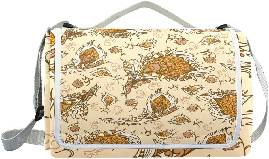 XINGAKA Coperta da Picnic Tappetino Campeggio,Modello Senza Cuciture Floreale Disegnato a Mano di Vettore,Giardino Spiaggia Impermeabile Anti Sabbia 12