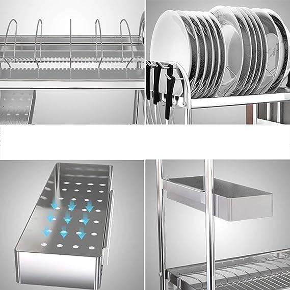 XUE Estante de Cocina de Acero Inoxidable, Bandeja de Plato de Alta Capacidad, con Carga de 70 kg (Plata): Amazon.es: Hogar