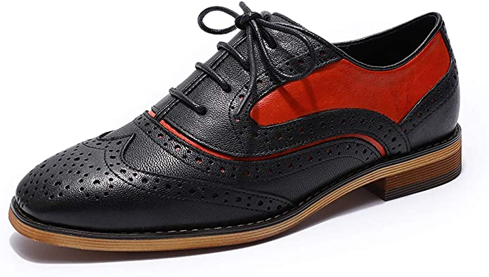 Amazon.com | MIKCON Womens Leather Oxfords Stylish Perforated Wingtips  Brogues Flats lace-up Oxfords Shoes for Women ladis Girls | Oxfords