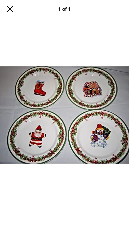 Amazon.com | Christopher Radko Celebrations Set 4 Salad Plates NEW ...