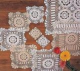 Handmade Crochet Lace Doily. 100% Cotton Crochet. Ecru, 18 Inch Square. Four pieces .