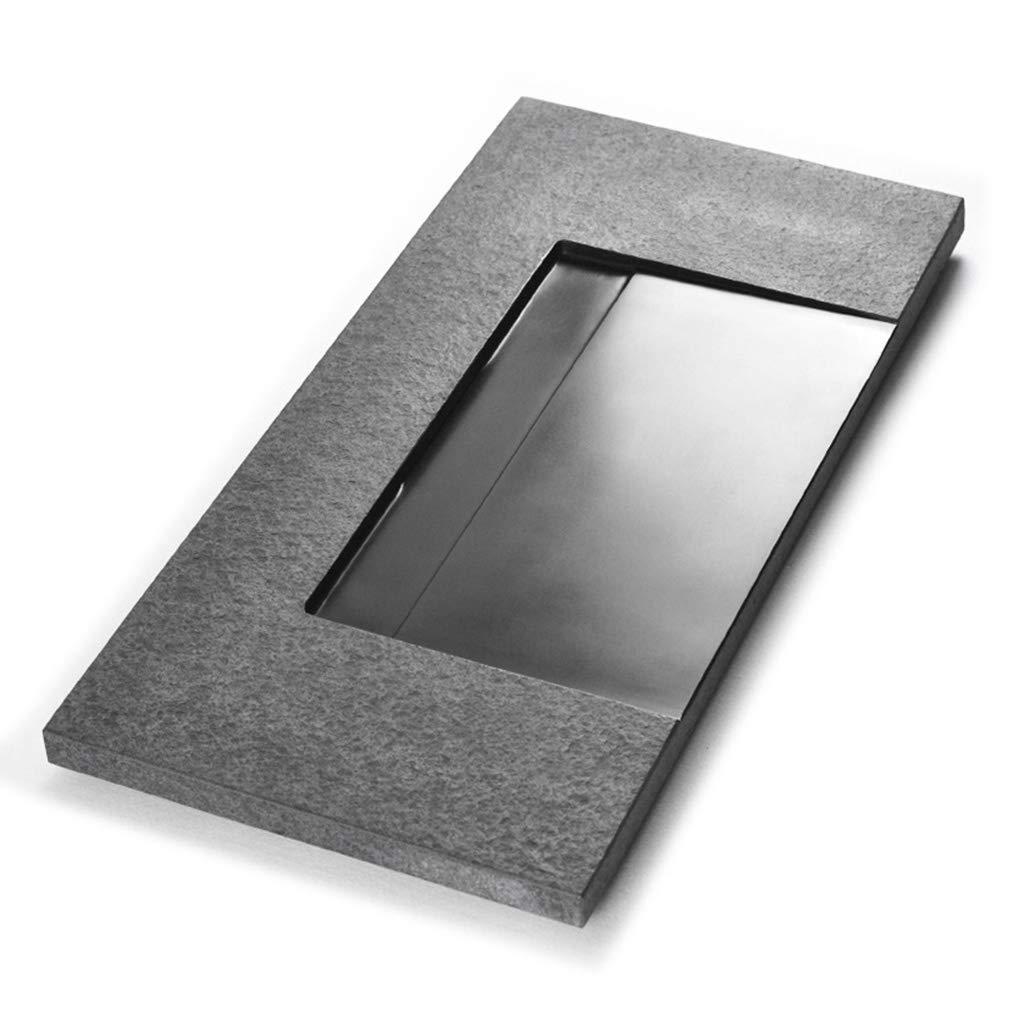 ナチュラル全石茶トレイ家庭のシンプルなティーテーブル排水茶海 コーヒーティー用品 (Color : Black, Size : 50*30*3cm) B07M8GPMT8 Black 50*30*3cm