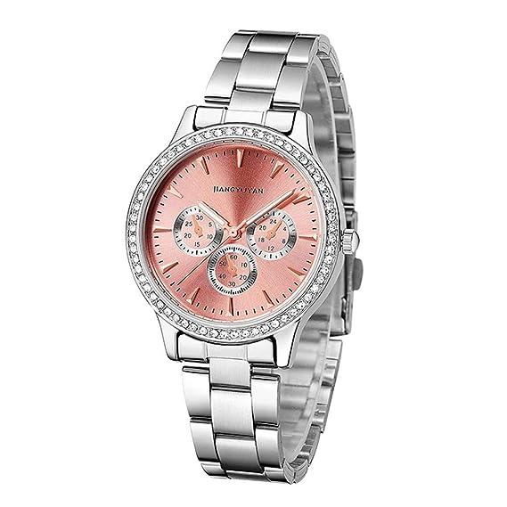 Relojes Pulsera Diamante De Imitación Cronógrafo Decorativo Analógico Relojes Mujer Plata Acero Inoxidable Elegante
