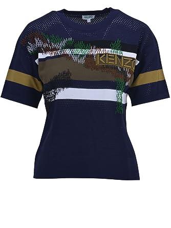 Kenzo Femme 1To40880577 Bleu Viscose T-Shirt  Amazon.fr  Vêtements ... 23725b9dff0