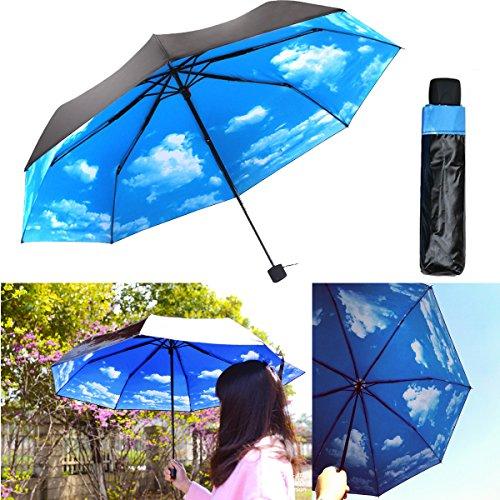 anti uv sun protection umbrella blue sky 3 folding. Black Bedroom Furniture Sets. Home Design Ideas