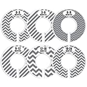 Delicush Baby Closet Dividers, Stripe, Chevron, Set of 6 Size Organizers, Nursery Closet Organizers, Baby Size Dividers, Glossy Finish, Boy, Girl (Grey)