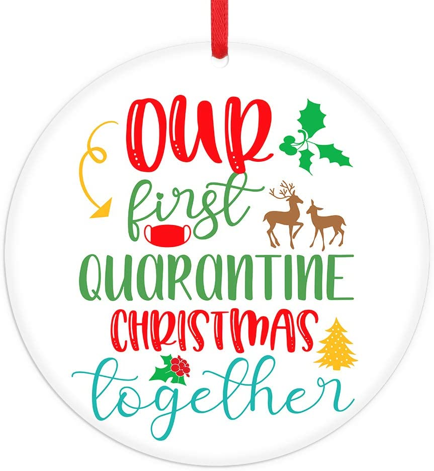 "FaCraft Our First Christmas Together Ornament 2020,3"" Our First Christmas Ornament, First Quarantine ChristmasOrnament with Elk Gift for Girlfriend Boyfriends Family"