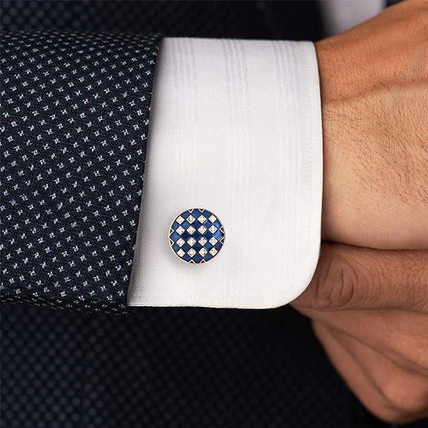 Men\u2019s Vintage Brass Enamel Navy Red Rugby Stripe Cufflinks