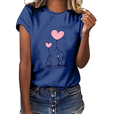 Xinantime Womens Short Sleeve Shirts Cute Elephant Gesture Print Casual Comforty T-Shirt Tops: Clothing
