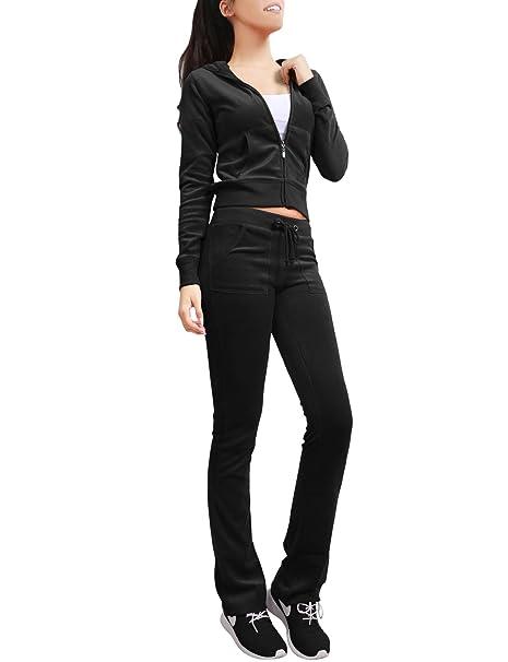 119406f7bb784 NE PEOPLE Womens Casual Basic Velour Zip Up Hoodie Sweatsuit Tracksuit Set S-3XL  Black
