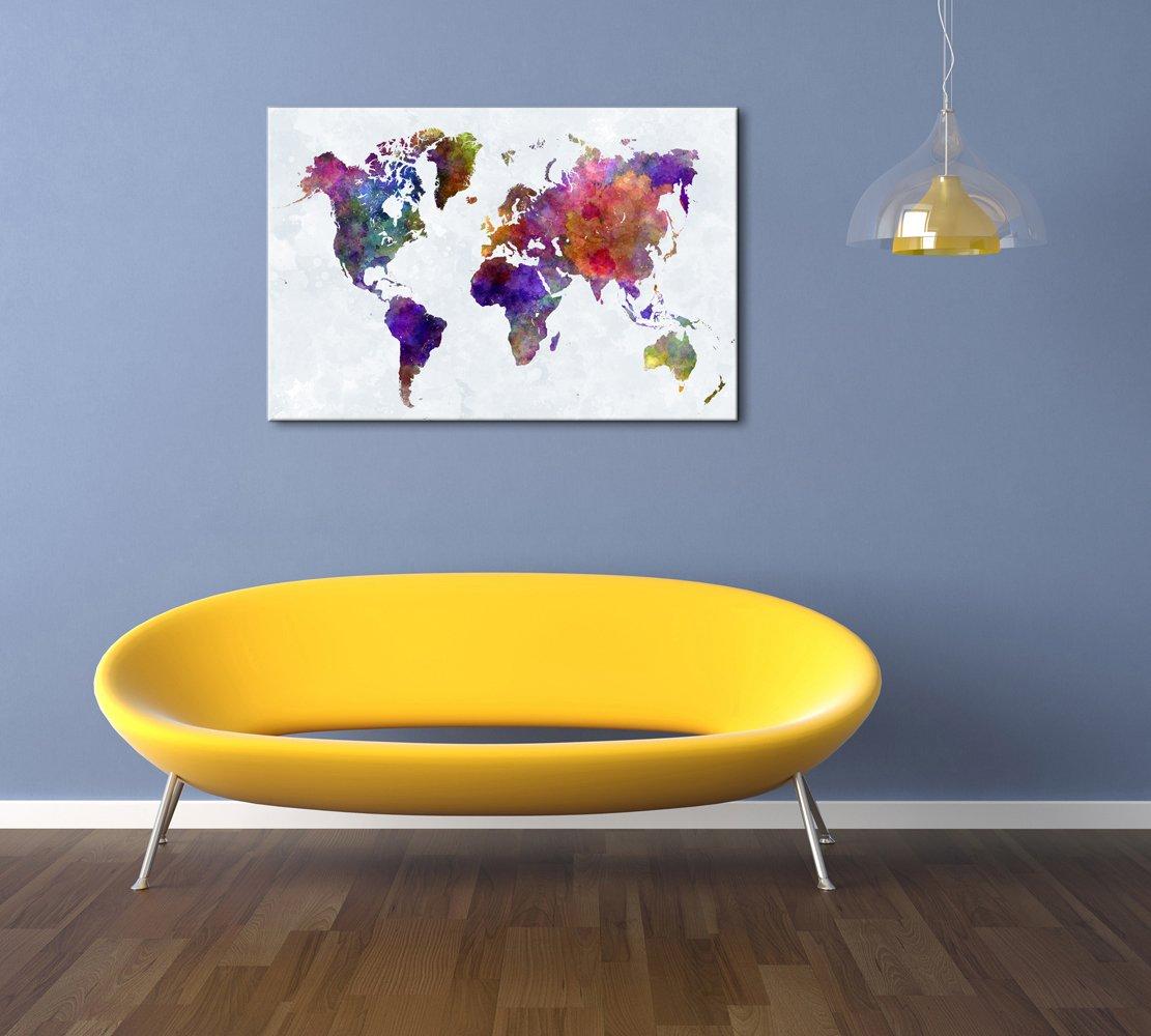 Amazon.com: Wieco Art Colorful Vintage World Map Canvas Prints Wall ...