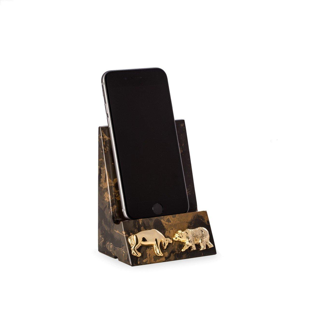 Bull and Bear Stock Market Tigers Eye Marble Desktop Cell Phone /& Tablet Cradle Holder Bey Berk DO27B