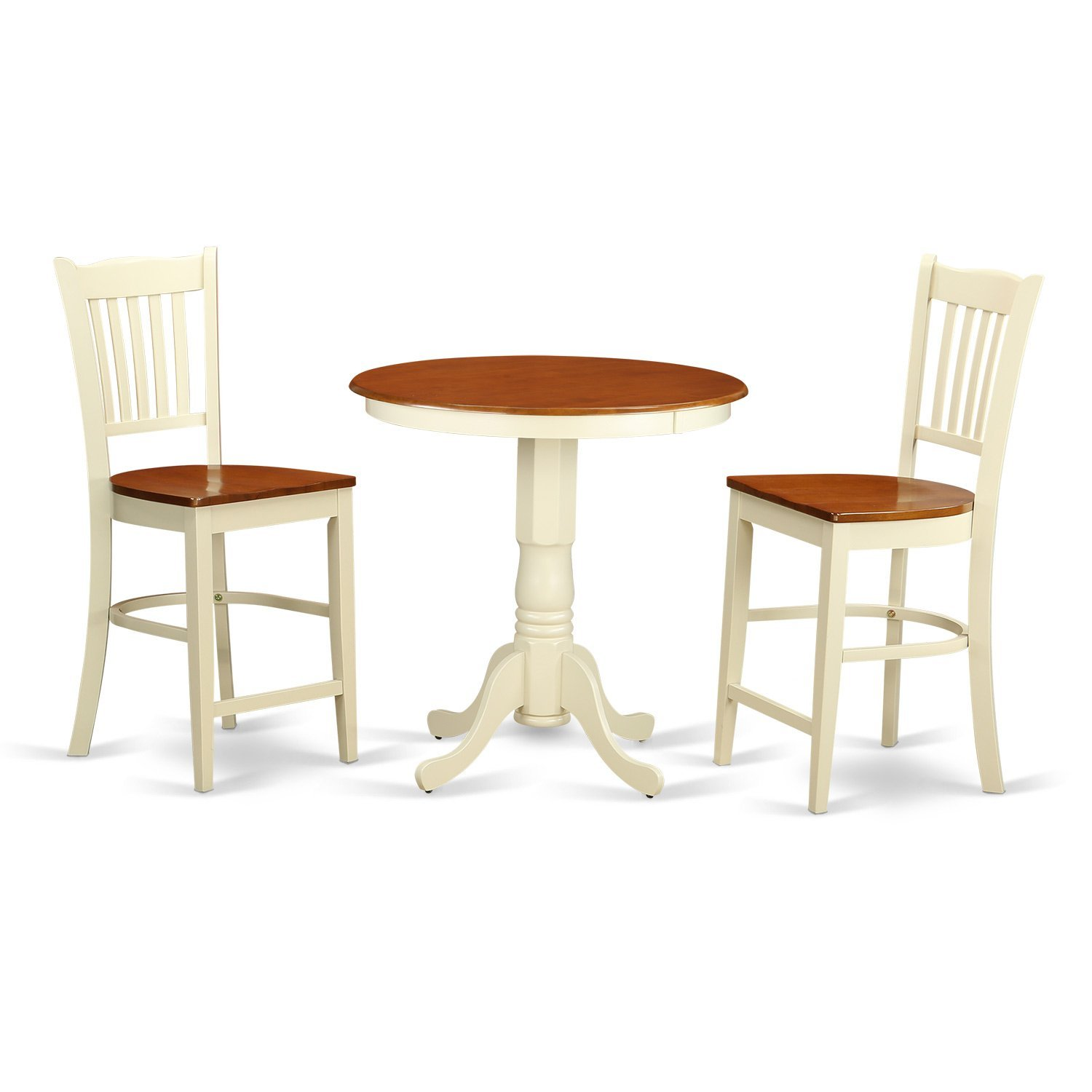 East West Furniture EDGR3-WHI-W 3 Piece High Top Table and 2 Counter Height Dining Chair Set