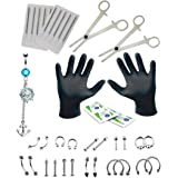41PCS Professional Piercing Kit Surgical Steel 14G 16G Belly Ring Tongue Tragus Nipple Nose