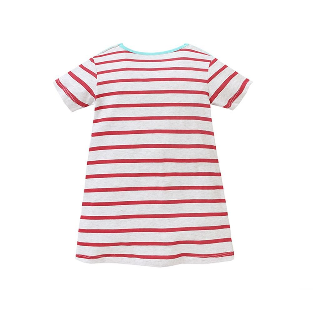 HILEELANG Toddler Girls Summer Cotton Short Sleeves Applique Casual Striped Dresses by HILEELANG (Image #2)
