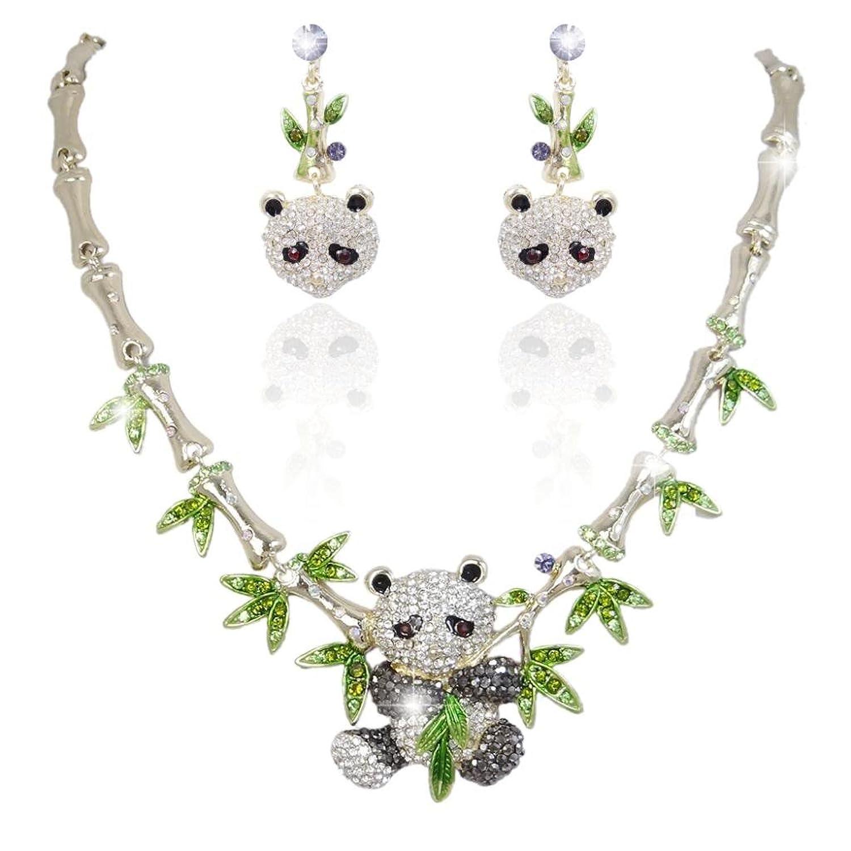 EVER FAITH® Gold-Tone Panda Bamboo Necklace Earrings Set Clear w/ Green Austrian Crystal