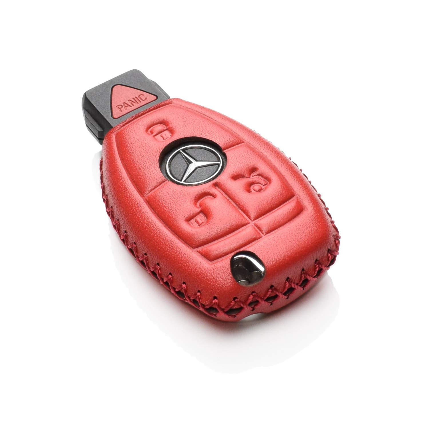 Vitodeco Leather Keyless Entry Remote Control Smart Key Case Cover with a Key Chain for Mercedes Benz Black//Red