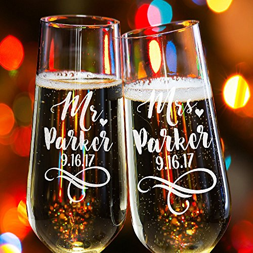 Lily's Atelier Set of 2, Hand Engraved Mr. Mrs. Last Name & Date Custom Wedding Toast Champagne Flute Set, Wedding Toasting Glasses - Etched Flutes for Bride & Groom Customized - Barware Customized