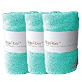 "Plush Microfiber Body/Face Cloth - Dual Action (exfoliate/cleanse): 3 Pk – 12""x12""– Soft Cleanse side and Exfoliating Reverse side - Remove Make Up, Dirt, Oil & Dead Skin Cells, Blue"