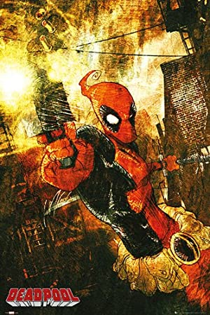 Marvel Comics Poster Deadpool pistola - Póster (61 cm x 91,5 cm) formato grande + Original tiras tesa (, 1 Pack/20 unidades): Amazon.es: Hogar
