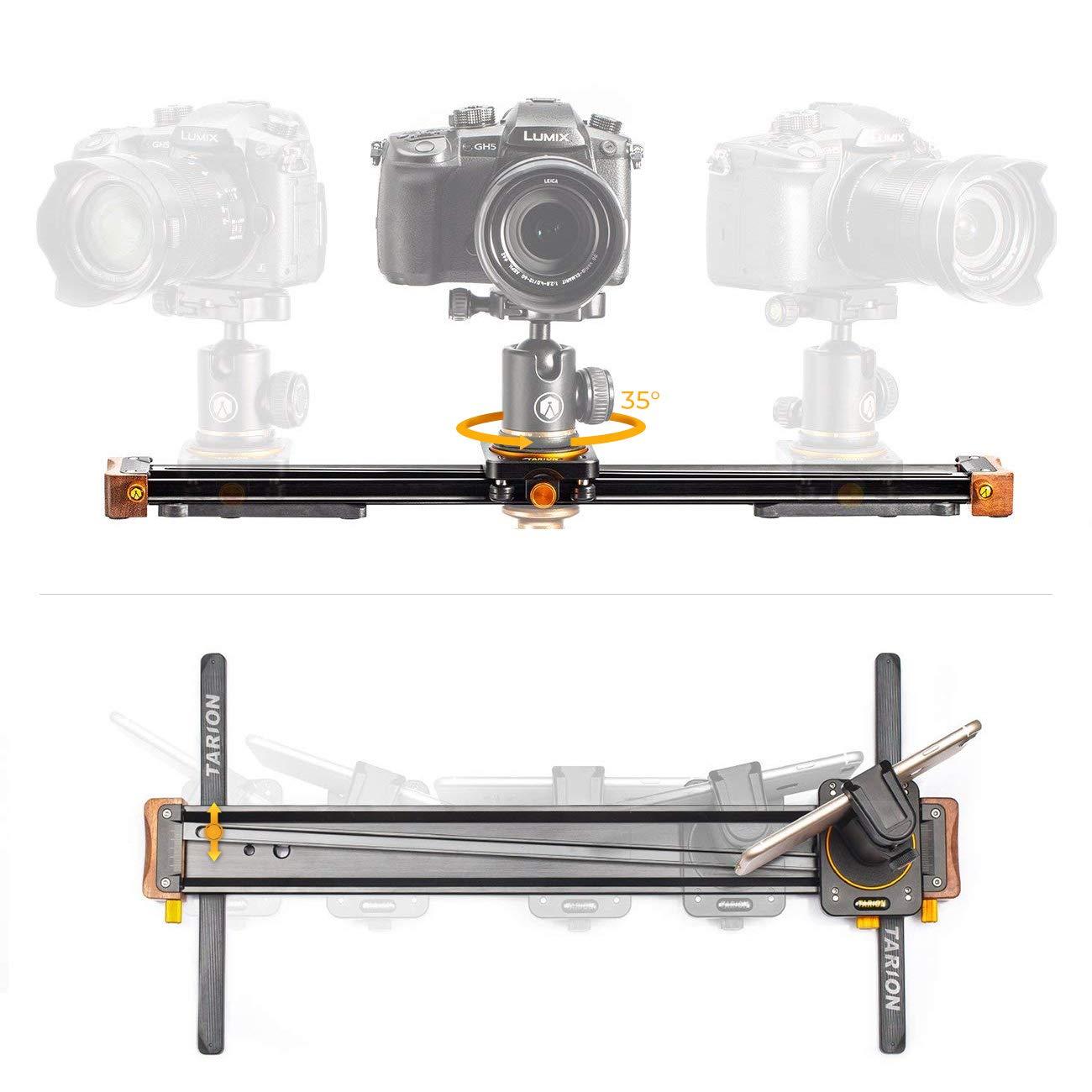 TARION V-20 Camera Slider 20'' Video Track Slider Rail Dolly Aluminum 35 ° Rotation 8.8 LB Load for DSLR Cameras Phones by TARION