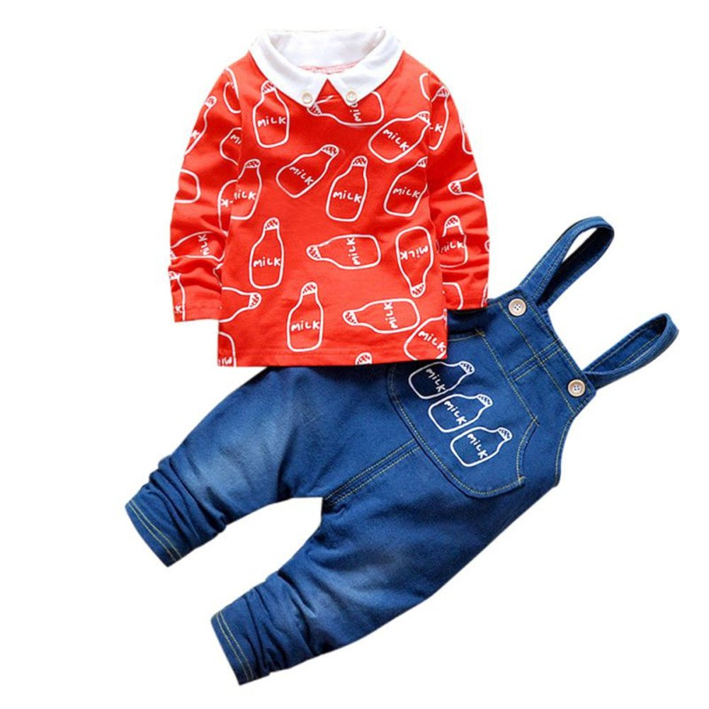 Baby Boys Girl Outfit Set Dungarees + Long Sleeve Milk Bottle Printed Top T-Shirt Newborn Toddler Clothes