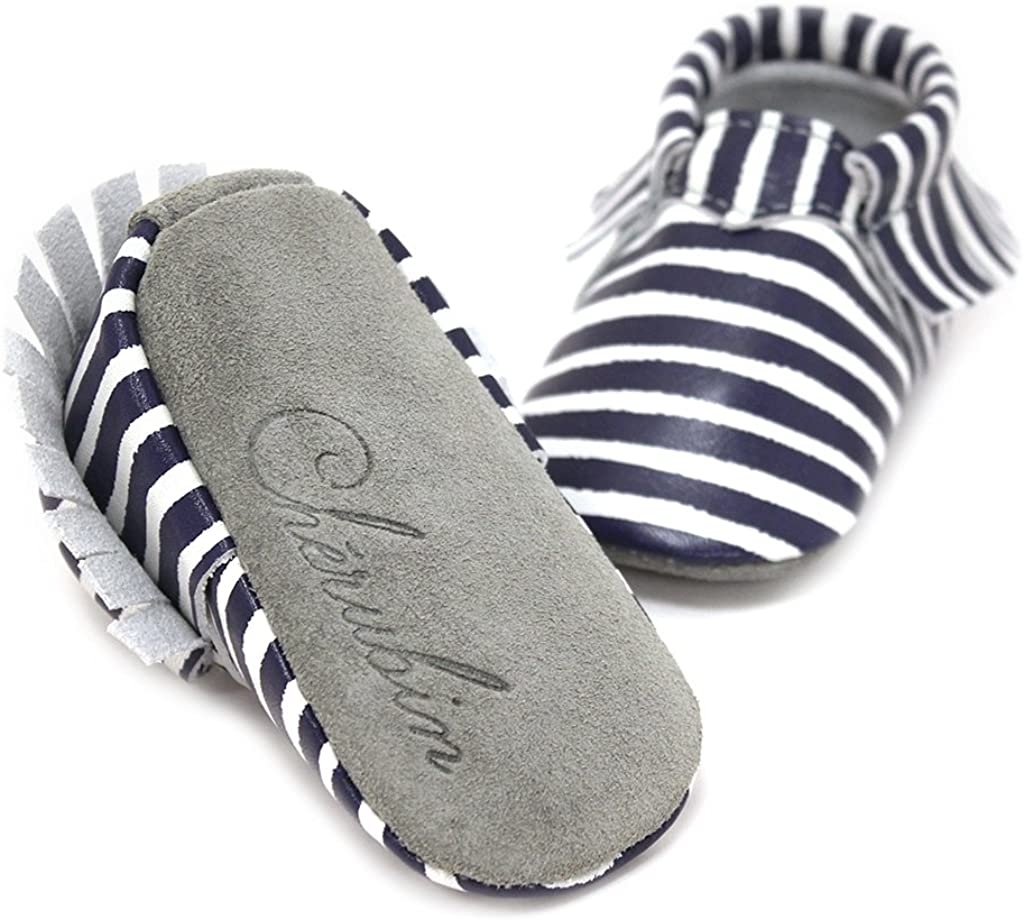 Navy White Stripe Printed Sailor Moccasin 100/% American Leather Moccasins for Babies /& Toddlers Made in US