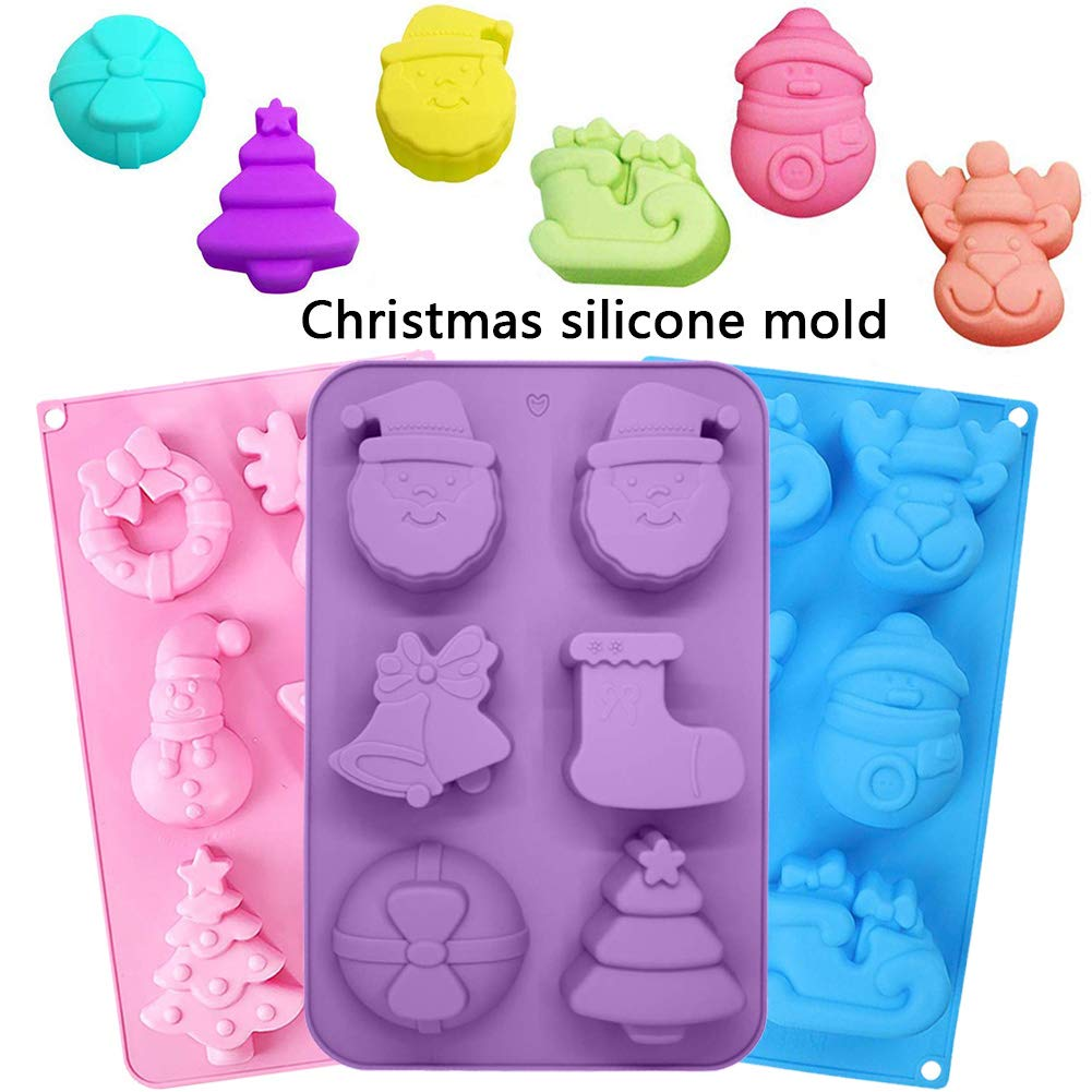 BESTZY Stampo Silicone Forma Natale 3PCS 6-cavit/à Sapone in Silicone Stampo Sapone Fai da Te Stampo Mooncake Cioccolato Wafer Stampo in Silicone