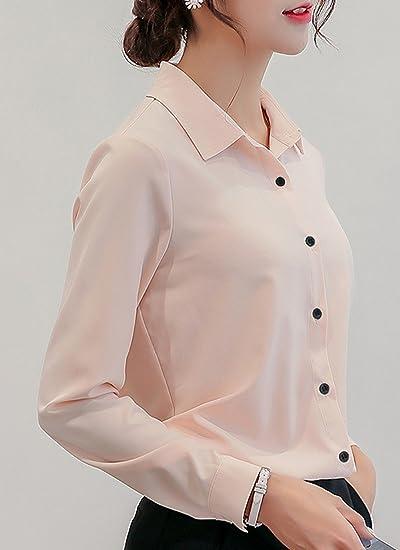 Primavera y Otoño Mujeres Camisas Casual Solapa Blusa de ...