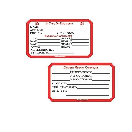 médica de emergencia y Información Personal Tarjeta de tamaño de ...