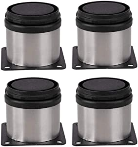 Pack of 4 Furniture Cabinet Adjustable Stainless Steel Round Kitchen Feet,Furniture Leg for DIY Furniture, Sofa Table Cabinets Shelves 50 x 50mm