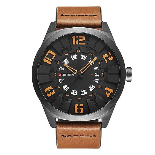 2017 nueva Curren hombres reloj moda lujo deporte hombres militares reloj de pulsera cuero marrón cuarzo reloj 8258: Amazon.es: Relojes
